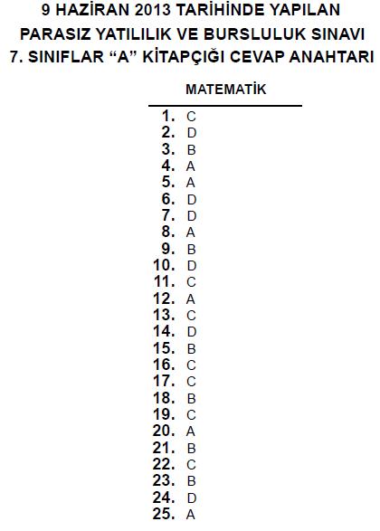 7. Sınıf PYBS - Bursluluk Cevap Anahtarı - 9 Haziran 2013 4