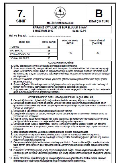 7. Sınıf PYBS - Bursluluk Cevap Anahtarı - 9 Haziran 2013 7
