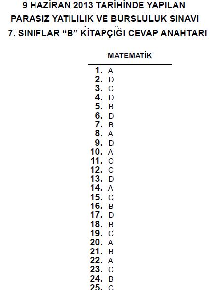 7. Sınıf PYBS - Bursluluk Cevap Anahtarı - 9 Haziran 2013 9