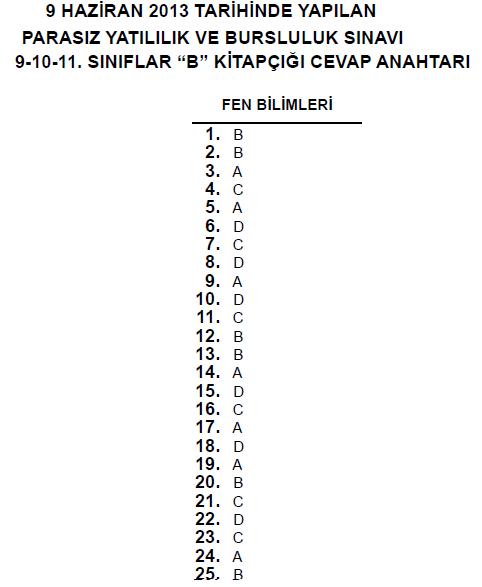 9 Haziran 2013 9. Sınıf PYBS - Bursluluk Cevap Anahtarı - MEB 10
