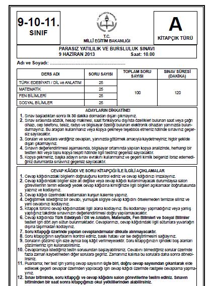 9 Haziran 2013 9. Sınıf PYBS - Bursluluk Cevap Anahtarı - MEB 2
