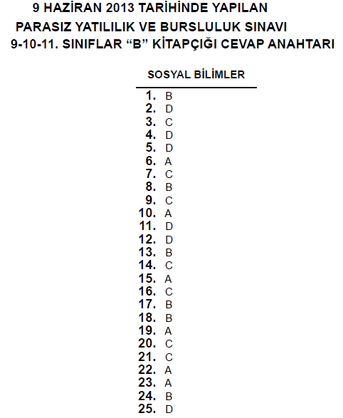 9 Haziran 2013 10. Sınıf PYBS - Bursluluk Cevap Anahtarı - MEB 10