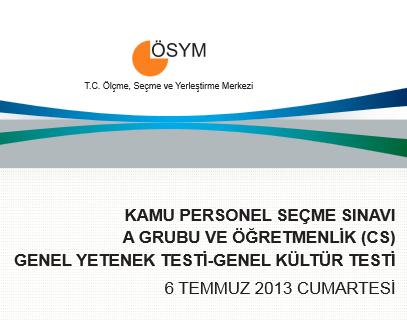 2013 KPSS Genel Yetenek ve Genel Kültür Cevap Anahtarı 6