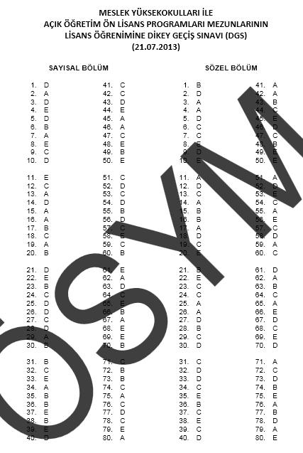 2013 DGS - Dikey Geçiş Sınavı Cevap Anahtarı 6
