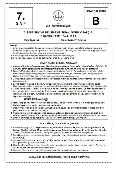 5 Haziran 2011 İlköğretim 7 SBS Sınav Cevapları - GALERİ 3