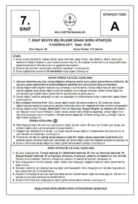 5 Haziran 2011 İlköğretim 7 SBS Sınav Cevapları - GALERİ
