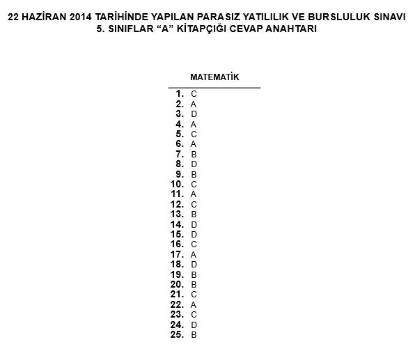 5. Sınıf PYBS - Bursluluk Cevap Anahtarı - 22 Haziran 2014 3
