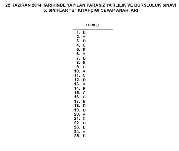 5. Sınıf PYBS - Bursluluk Cevap Anahtarı - 22 Haziran 2014 8