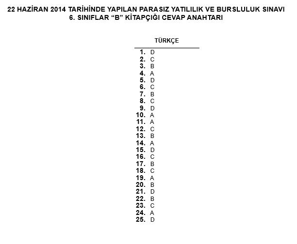 6. Sınıf PYBS - Bursluluk Cevap Anahtarı - 22 Haziran 2014 8