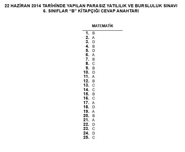 6. Sınıf PYBS - Bursluluk Cevap Anahtarı - 22 Haziran 2014 9