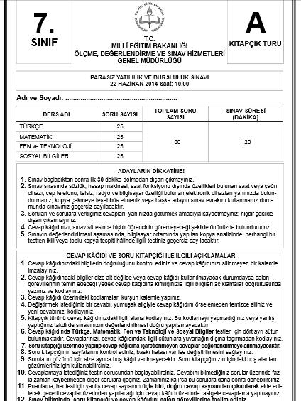7. Sınıf PYBS - Bursluluk Cevap Anahtarı - 22 Haziran 2014 1