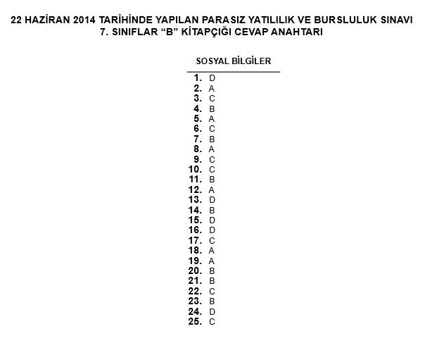 7. Sınıf PYBS - Bursluluk Cevap Anahtarı - 22 Haziran 2014 11