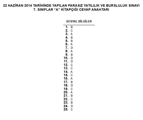 7. Sınıf PYBS - Bursluluk Cevap Anahtarı - 22 Haziran 2014 5