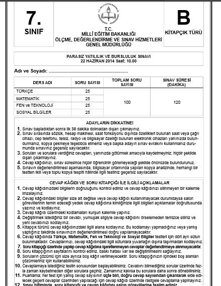 7. Sınıf PYBS - Bursluluk Cevap Anahtarı - 22 Haziran 2014 7