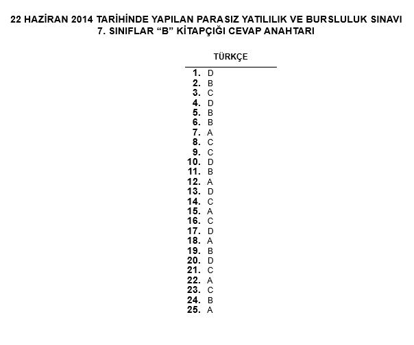 7. Sınıf PYBS - Bursluluk Cevap Anahtarı - 22 Haziran 2014 8