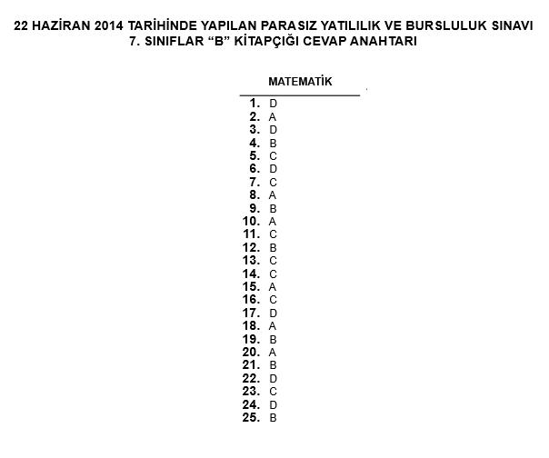 7. Sınıf PYBS - Bursluluk Cevap Anahtarı - 22 Haziran 2014 9