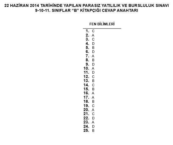 9. Sınıf PYBS - Bursluluk Cevap Anahtarı - 22 Haziran 2014 10