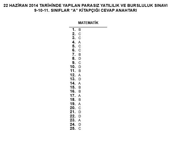 9. Sınıf PYBS - Bursluluk Cevap Anahtarı - 22 Haziran 2014 3