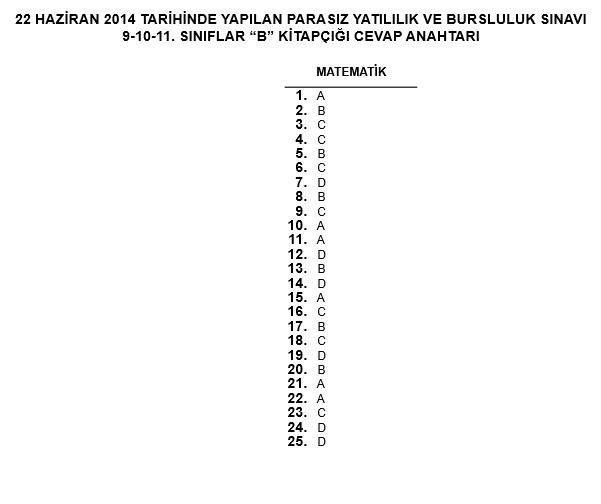 9. Sınıf PYBS - Bursluluk Cevap Anahtarı - 22 Haziran 2014 9