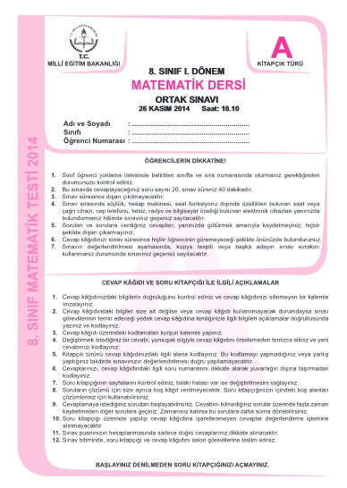 26 Kasım TEOG Soru ve Cevapları - Türkçe Matematik Din Kültürü 1