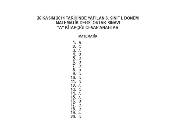 26 Kasım TEOG Soru ve Cevapları - Türkçe Matematik Din Kültürü 2