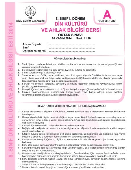 26 Kasım TEOG Soru ve Cevapları - Türkçe Matematik Din Kültürü 3