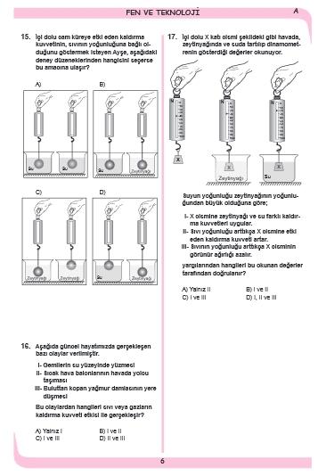 27 Kasım 2014 8. Sınıf 1. Dönem Fen ve Teknoloji Sınav Soruları ve Cevap 6
