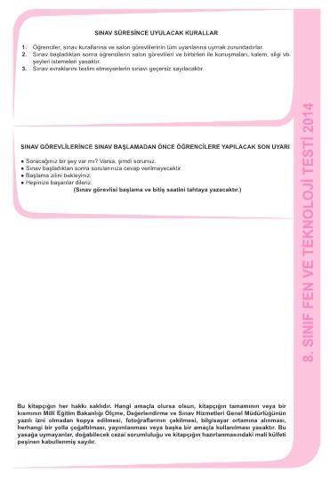 27 Kasım 2014 8. Sınıf 1. Dönem Fen ve Teknoloji Sınav Soruları ve Cevap 8
