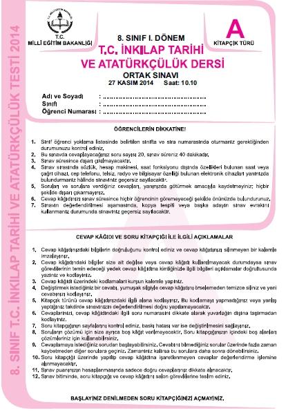 27 Kasım 2014 8. Sınıf 1. Dönem T.C. İnkilap Tarihi ve Atatürkçülük Sına 1