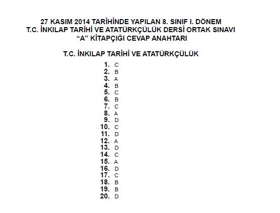 27 Kasım 2014 8. Sınıf 1. Dönem T.C. İnkilap Tarihi ve Atatürkçülük Sına 9