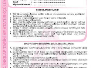 27 Kasım 2014 8. Sınıf 1. Dönem T.C. İnkilap Tarihi ve Atatürkçülük Sına