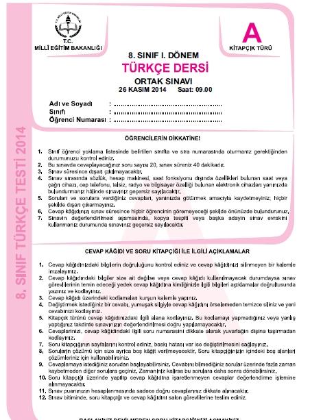 26 Kasım 2014 8. Sınıf 1. Dönem Türkçe Sınav Soruları ve Cevapları 1