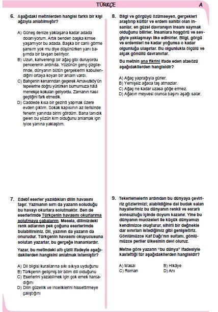 26 Kasım 2014 8. Sınıf 1. Dönem Türkçe Sınav Soruları ve Cevapları 3