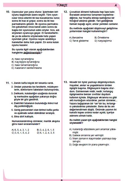 26 Kasım 2014 8. Sınıf 1. Dönem Türkçe Sınav Soruları ve Cevapları 4