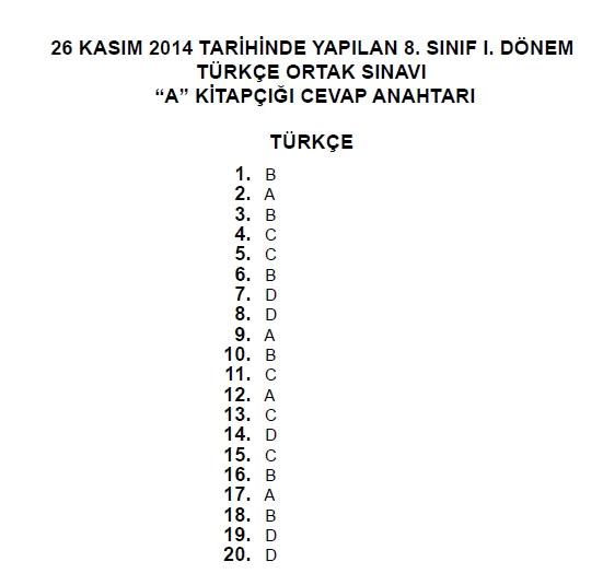 26 Kasım 2014 8. Sınıf 1. Dönem Türkçe Sınav Soruları ve Cevapları 8