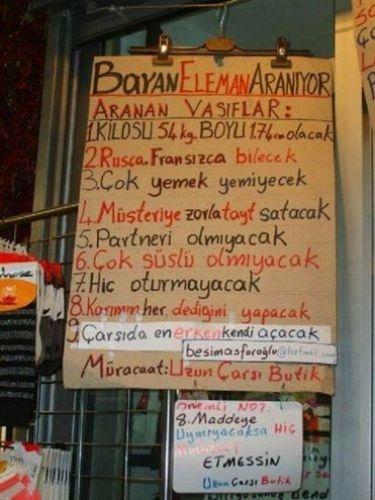 Türkiye'den komik ilanlar 1