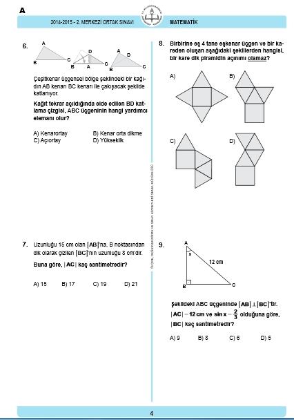29 Nisan 2015 TEOG Matematik Soru ve Cevapları 3