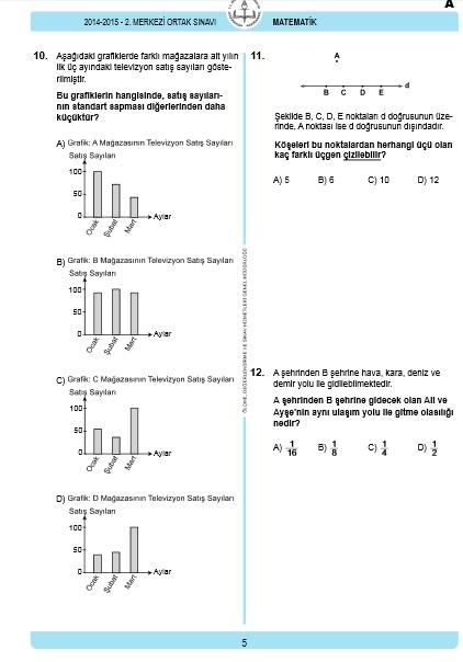 29 Nisan 2015 TEOG Matematik Soru ve Cevapları 4