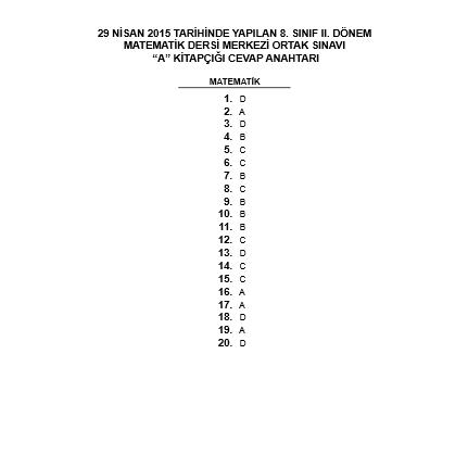 29 Nisan 2015 TEOG Matematik Soru ve Cevapları 7