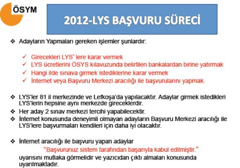 2012 LYS Başvuru Süreci 3
