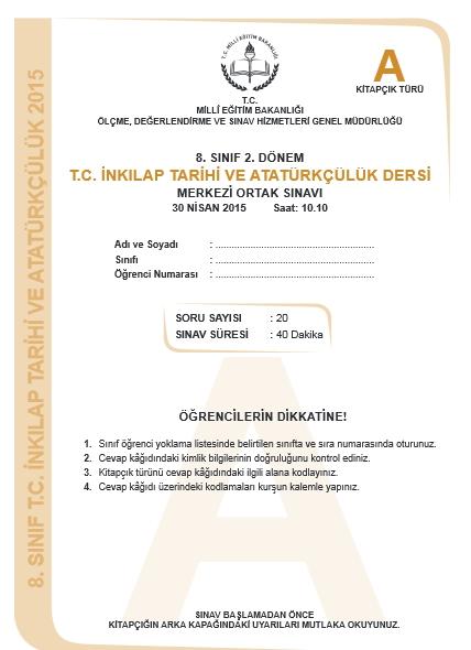 30 Nisan 2015 TEOG  İnkılâp Tarihi ve Atatürkçülük Soru ve Cevapları 1