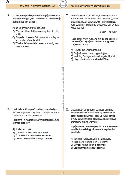 30 Nisan 2015 TEOG  İnkılâp Tarihi ve Atatürkçülük Soru ve Cevapları 3