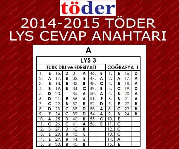 2-3 Mayıs 2015 Töder LYS Sınavı Cevap Anahtarı 5