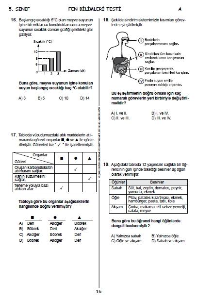 13 Haziran 2015 5. Sınıf PYBS - Bursluluk Cevap Anahtarı ve Sınav Sorula 14