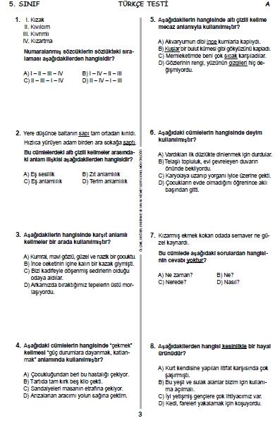 13 Haziran 2015 5. Sınıf PYBS - Bursluluk Cevap Anahtarı ve Sınav Sorula 2