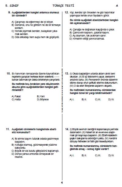 13 Haziran 2015 5. Sınıf PYBS - Bursluluk Cevap Anahtarı ve Sınav Sorula 3