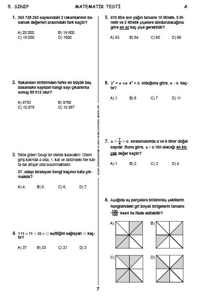 13 Haziran 2015 5. Sınıf PYBS - Bursluluk Cevap Anahtarı ve Sınav Sorula 6