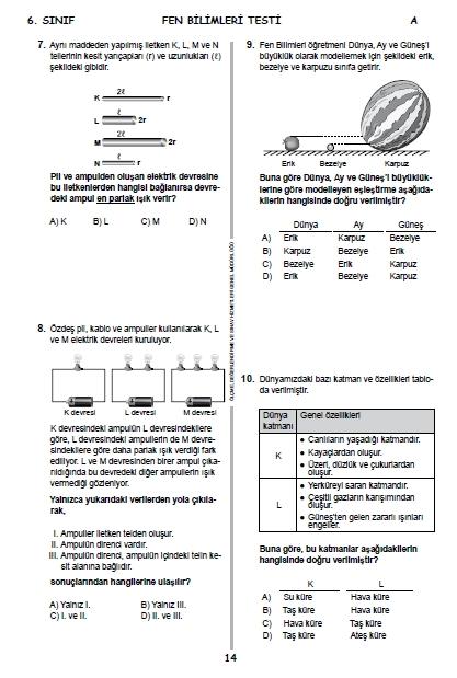 2015 6. Sınıf PYBS - Bursluluk Cevap Anahtarı ve Sınav Soruları 13