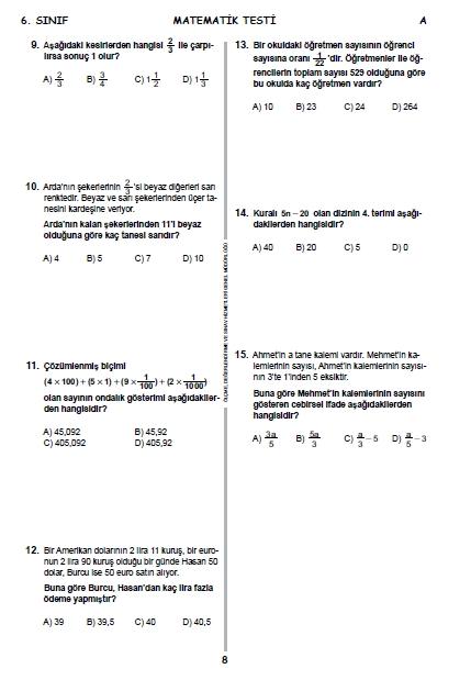 2015 6. Sınıf PYBS - Bursluluk Cevap Anahtarı ve Sınav Soruları 8