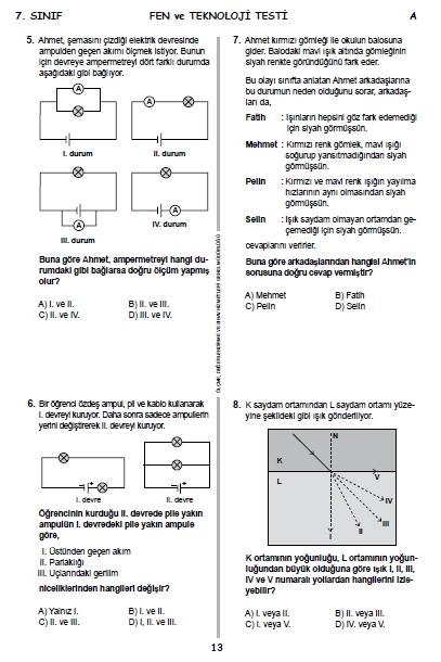 2015 7. Sınıf PYBS - Bursluluk Sınav Soruları ve Cevap Anahtarı 12